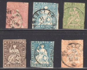 Switzerland #22, 27, 29, 36, 37 and 39 All used with small faults or thin