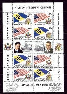 Barbados 935a Sheet 1997 Pres. Clinton Visit    (ap4250)