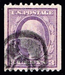 US STAMP #489 – 1917 3c Washington, violet, type I USED STAMP SUPERB