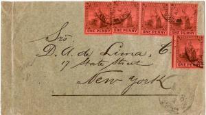 Trinidad 1d Britannia (5) 1907 G.P.O. Port of Spain, Trinidad to New York, N.Y.