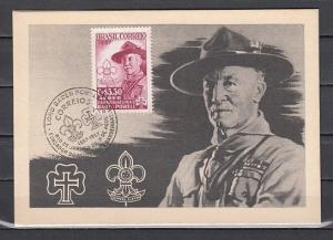 Brazil, Scott cat. C87. Baden Powell of Scouting on a Max. Card. ^