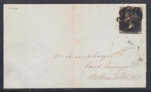 Great Britain Sc 1 on 1841 Penny Black cover, black Maltese Cross cancel ties