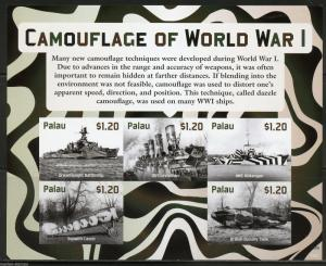 NEVER BEFORE OFFERED PALAU  2015 CAMOUFLAGE OF WORLD WAR I  SHEET  IMPERF NH