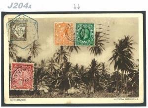 J204a 1935 GB JERSEY PORTUGAL AUSTRALIA Combination Franking Quelimane Postcard