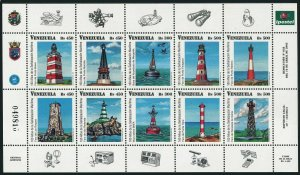 Venezuela 1626 aj sheet,MNH. Navigational aids,Lighthouses 2002.Birds.