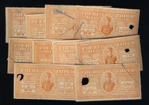 INDIA - JAIPUR Court Fee Revenue Stamp 2 Annas Brown Orange x10 used (#Mar23$20)