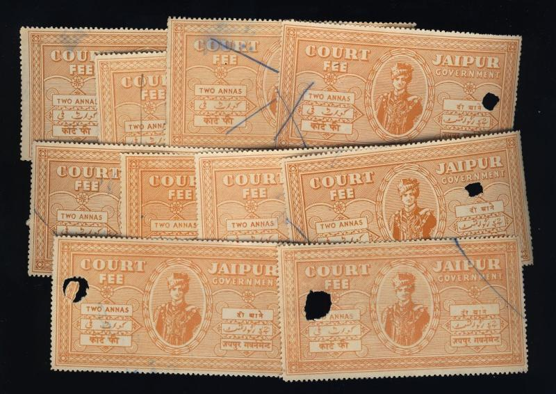INDIA - JAIPUR Court Fee Revenue Stamp 2 Annas Brown Orange x10 used examples(a)