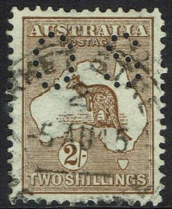AUSTRALIA 1914 KANGAROO OS 2/- 1ST WMK USED