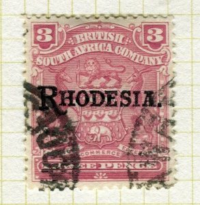 RHODESIA; 1905 early Ed VII period Optd. issue fine used 3d. value