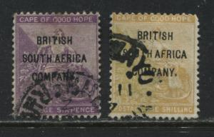 Rhodesia 1896 overprinted British South Africa Company 6d and 1/ used