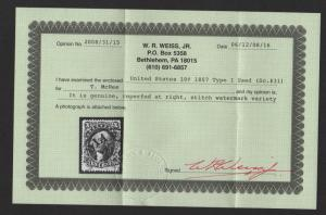 $US Sc#31 used/F-VF, stitch wmk, weiss Cert., reperfed at right, Cv. $1100+