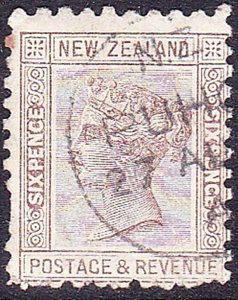 NEW ZEALAND 1882 QV 6d Brown Perf 12 x 12.5 SG216a Used