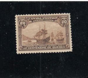 CANADA (KSG103) # 103 VF-MNH 20cts CARTIER'S ARRIVAL / BROWN CAT VALUE $1200
