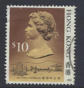 Hong Kong - Scott 502d - QEII - Definitive 1991- FU - Single $10.00c Stamp