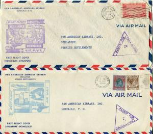 PAN AMERICAN First Flight HAWAII SINGAPORE Airmail Cover Cachet Collection 1941