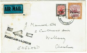 Sudan 1931 Sudan Air Mail cancel on first flight cover to England