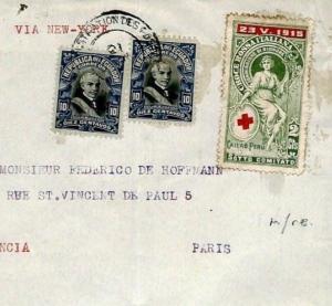 ECUADOR WW1 Cover ITALIAN RED CROSS France 1916 Transatlantic{samwells}F261