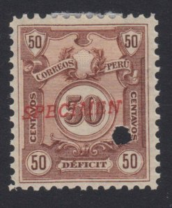 PERU 1909 Postage due SPECIMEN opt in red + security punch hole ............7983