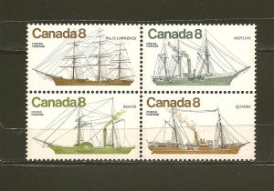 Canada 673a Coastal Vessels Se-tenent Block of 4 MNH