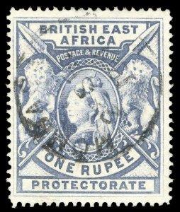 British East Africa 1897 QV 1r grey-blue very fine used. SG 92. Sc 102.