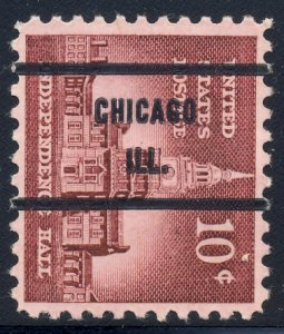 Chicago IL, 1044-71 Bureau Precancel, 10¢ Independence Hall
