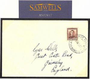 PITCAIRN ISLAND New Zealand Agency Last Day Cover 1940 Grimsby GB Lincs MS2657