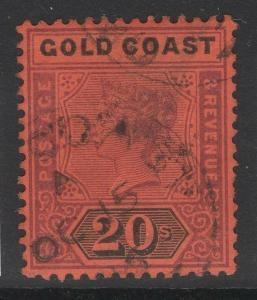 GOLD COAST SG25 1894 20/= DULL MAUVE & BLACK/RED USED