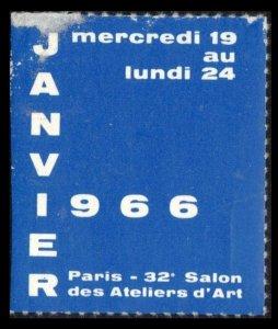 FRANCE, PARIS 32e SALON ATELIER D'ART 19-24 JANVIER 1966 MNH POSTER STAMP C NOTE