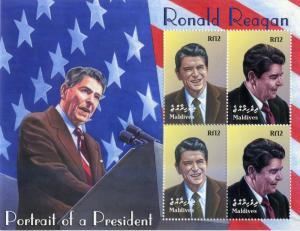 Maldives MNH S/S 2665  Ronald Reagan Portrait Of a President SCV 12.50