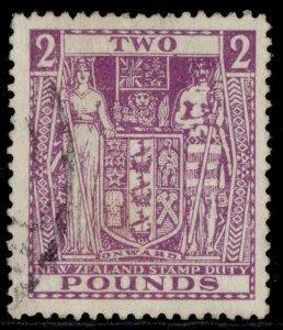 NEW ZEALAND GVI SG F206, £2 bright purple, FINE USED. Cat £32.