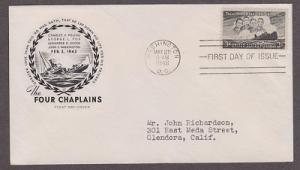 956 Four Chaplins House of Farnam FDC with neatly typewritten address