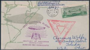 #C18 ON LINPRINT FDC CACHET ZEPPELIN FLIGHT MIAMI-BRAZIL-GERMANY-USA BS3008