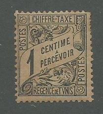 Tunisia Scott Catalog Number J1 Issued in 1901 Unused Heavy Hinged