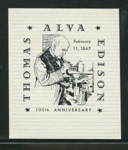 90510 - 100th ANNIVERSARY THOMAS ALVA EDISON - MNH 1947 POSTER STAMP