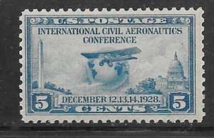USA 650: 5c Airliner Ryan Brougham B-5 (1927) and globe, MH, F-VF