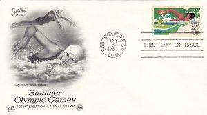 1983, Summer Olympic Games-Women's Swimming, Art Craft/PCS, FDC (E11190)