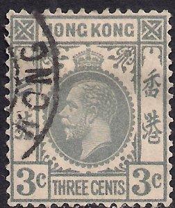 Hong Kong 1921 - 37 KGV 3ct Grey used SG 119 ( L553 )