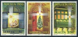 Malta B78-B80,MNH.Michel 917-919. Christmas 1993.Christ Child,Tree,Star.