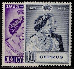 CYPRUS GVI SG166-167, ROYAL SILVER WEDDING set, M MINT. Cat £61.