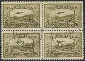 NEW GUINEA 1939 BULOLO AIRMAIL 5/- BLOCK USED