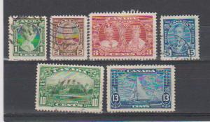 CANADIAN SETS ON KING GEORGE V SILVER JUBILEE (6) USED STAMPS  LOT#132