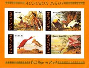 Tanzania IMPERF. 1986 Audubon Birds Duck Spoonbill 4v Mint S/S. (#02)