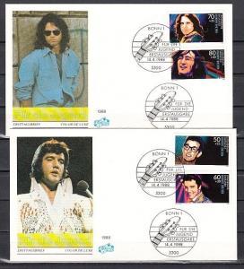 Germany, Scott cat. B666-B669. Rock & Roll Stars as Elvis on 2 First day covers.