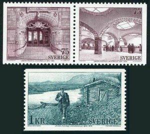 Sweden 1084-1086,MNH.Michel 859-881. UPU-100,1974.Central P.O.Mailman,Route.
