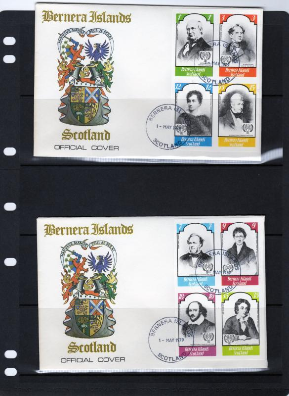 Bernera Islands 1979 International Year of The Child (ICY) Set (8) Imperf.FDC