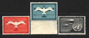 UN New York. 1951. 12-15 in the series. Airmail, airplanes, birds. MNH.