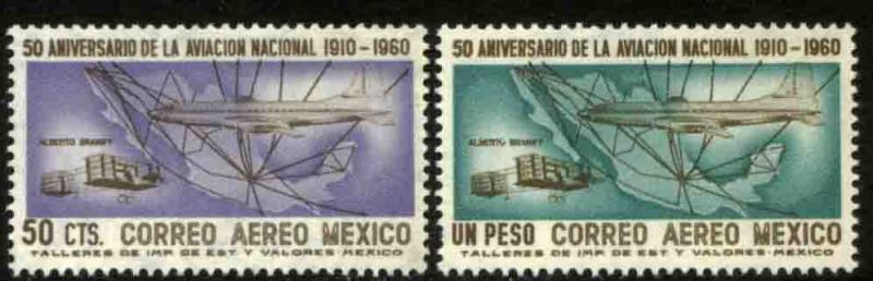 MEXICO C247-C248, 50th Anniversary of Mexican Aviation. MINT, NH. F-VF.