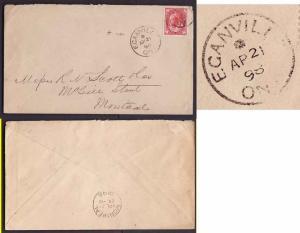 Canada #9325 - 3c Leaf - Renfrew County - Eganville , Ont - * Ap 21 1898 -