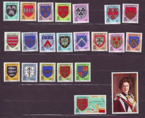 J23308 JLstamps 1981-3 jersey mnh sets #246-68, no 5p arms/queen