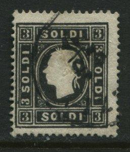 Austria Lombardy Venetia 1858 3 soldi black used